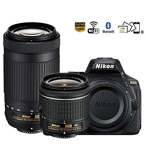Nikon D5600 24.2MP DSLR Camera 18-55mm VR & 70-300mm ED Lens (1580B) – (Certified Refurbished)