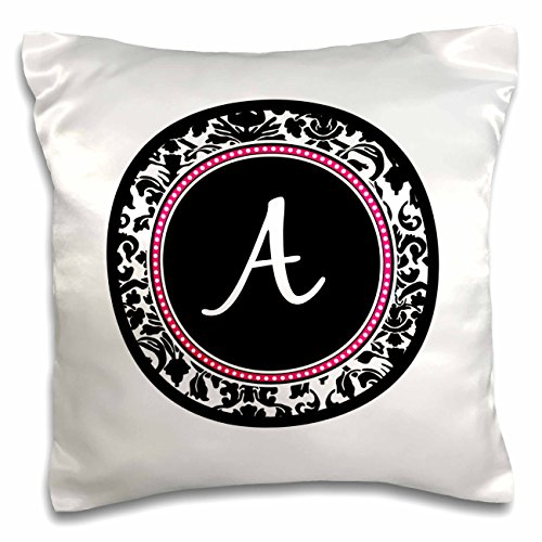 3dRose Letter A Stylish Monogrammed Circle-Girly Personal Initial-Personalized Black Damask Hot Pink-Pillow Case, 16 by 16