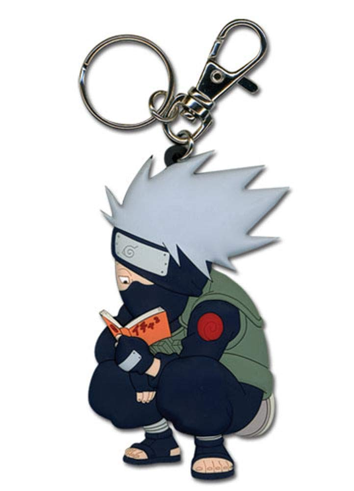 Great Eastern Entertainment Naruto Kakashi Reading The Paradise PVC Keychain,Blue,Large