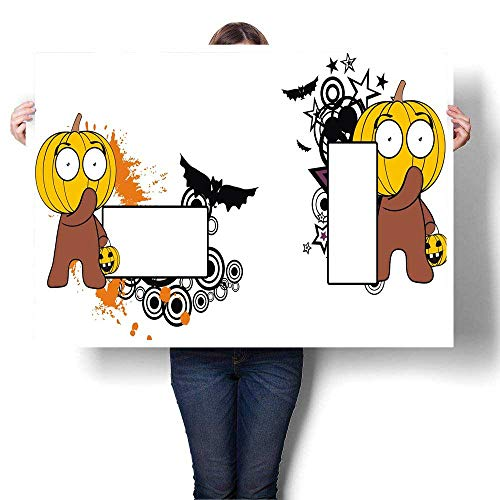 MartinDecor Abstract Painting Funny Little Pumpkin Kid Halloween Copy Space Decorative Fine Art Canvas Print Poster K 20