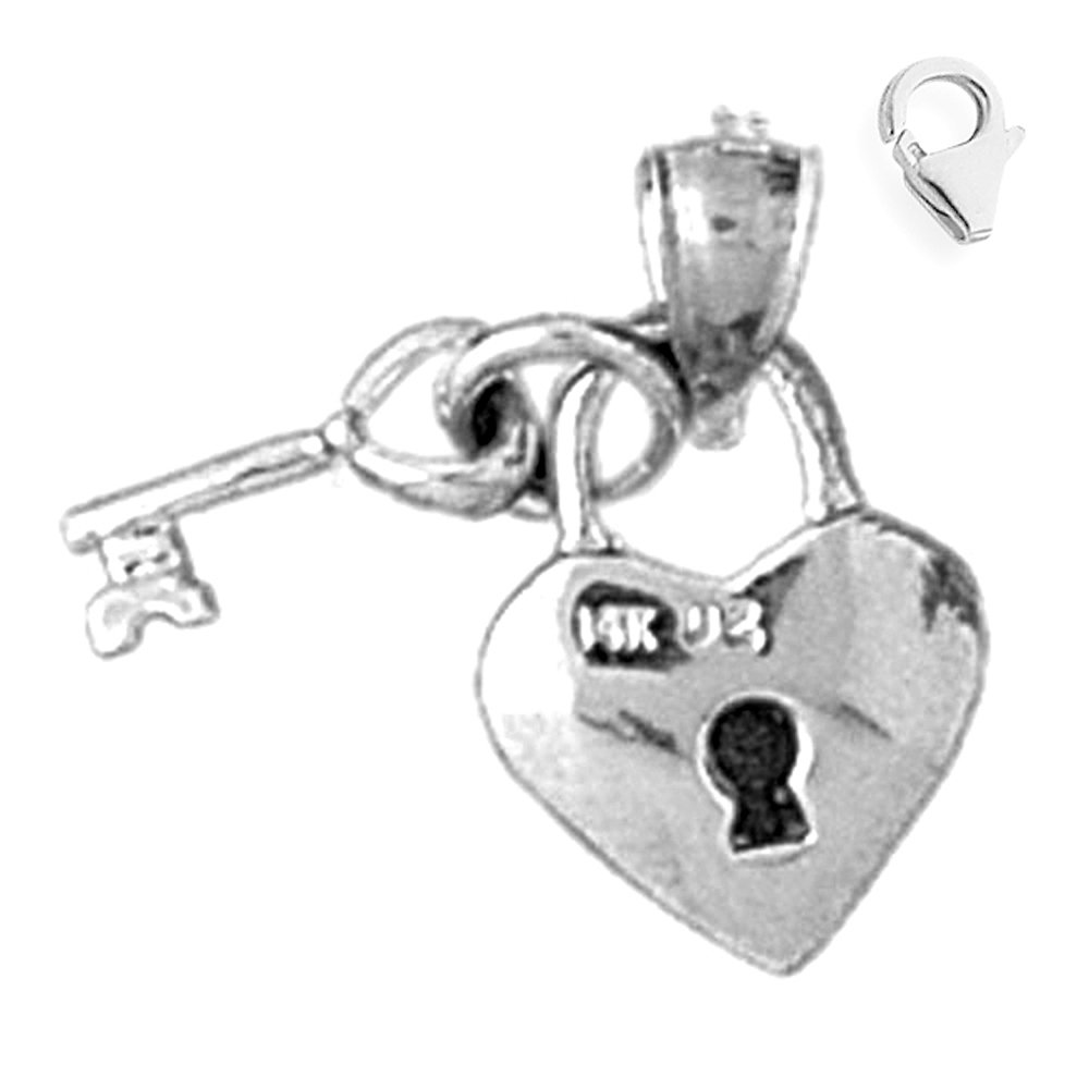 JewelsObsession Sterling Silver 18mm Lock and Heart Charm w//Lobster Clasp