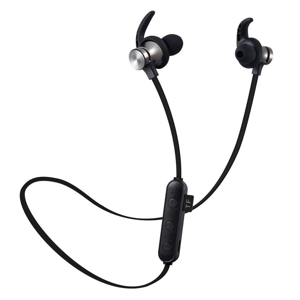 pairris Auriculares magnéticos Deportivos con Banda para el Cuello Auriculares estéreo inalámbricos bilaterales inalámbricos Bluetooth Auriculares