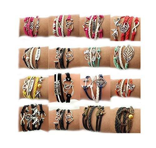 Wholesale Girls Fashion - Juanerjie Wholesale 16pcs Vintage Multilayer Multicolor Woven Leather Alloy Owl Braided Infinity Bracelets