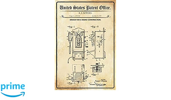 United States Patent Office - Design for a radio construcción - Entwurf für ein Radio - Bowers, 1959 - Design no 2.895.044 - blechschild: Amazon.es: Hogar