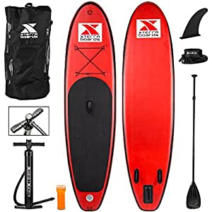 """Xterra Red Inflatable 10' Stand Up Paddle Board Premium SUP Bundle 