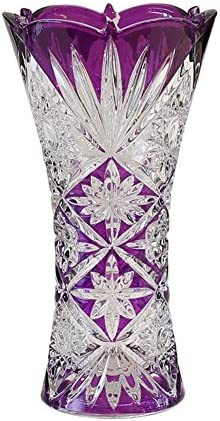 European Creative Glass vase,Decorative Transparent Crystal Flower Printing vase Living Room Dinner Table for Water Plant-B