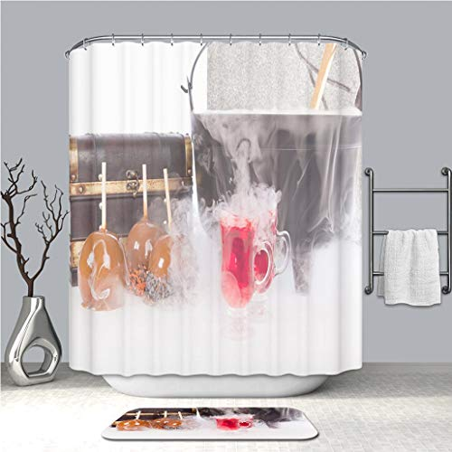 BEICICI Creative Shower Curtain and Bath mat Rug Boiling and Bubbling Halloween Punch with Caramel Apples Custom Stylish,Waterproof,Mildew Proof Bathroom Set ()