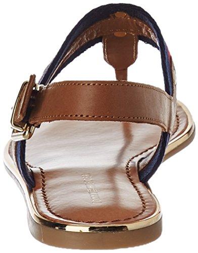 Tommy Hilfiger J1285ulia 65c, Sandalias con Cuña para Mujer Marrón (Cognac)