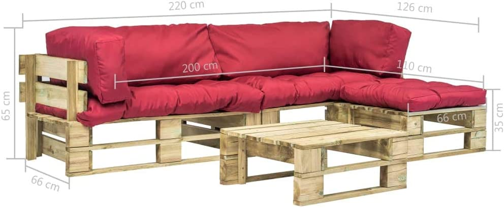 UnfadeMemory Sofa Palets Exterior con Mesa de Centro y Cojines,Sof/á de Jard/ín,Sof/ás de Interior,Respaldo Extra/íbles,R/ústico,Sof/ás 220x126x65cm,Madera FSC Rojo y Verde