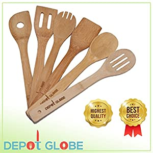 Kitchen Cooking Utensils Bamboo Spoon and Spatula 6 Set - By Depot Globe