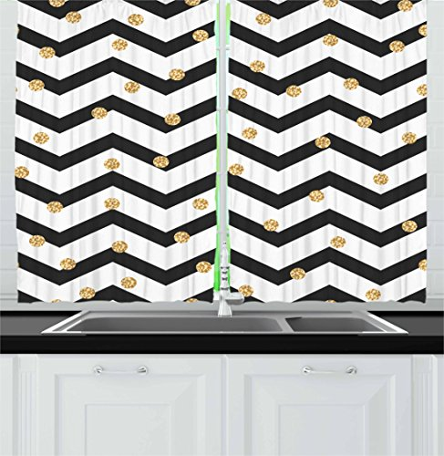Ambesonne Chevron Kitchen Curtains, Zig Zag Symmetric Pattern with Golden Yellow Polka Dots Modern Minimalist Design, Window Drapes 2 Panel Set for Kitchen Cafe, 55 W X 39 L Inches, Black White For Sale