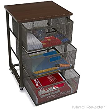 Mind Reader Rolling Storage Cart with 3 Drawers File Storage Cart Utility Cart  sc 1 st  Amazon.com & Amazon.com: Mind Reader Rolling Storage Cart with 3 Drawers File ...