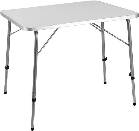Deuba Mesa Plegable de Aluminio Blanca y Plateada para jardín Fiesta Camping Altura Ajustable compacta Exterior 80x60cm