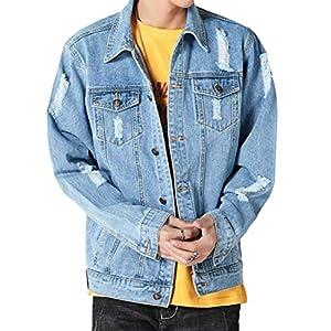 Men's Ripped Holes  Denim Trucker Cowboy Jacket