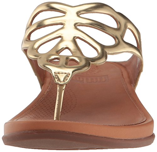 FitFlop Womens Bumble Leather Toe-Post Flip Flop Gold Mirror vZ0fYS1c