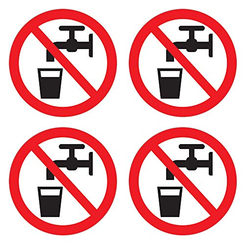 dealzEpic - Non Potable Symbol Sticker/Not Drinking Water Sign - Self Adhesive Peel and Stick Round Vinyl Decal - 3.94 inches in Diameter | Pack of 4 Pcs