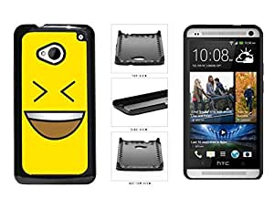 XiFu*MeiBright Yellow Evil Grin with Teeth Smiley Face Plastic Phone Case Back Cover HTC One M7XiFu*Mei