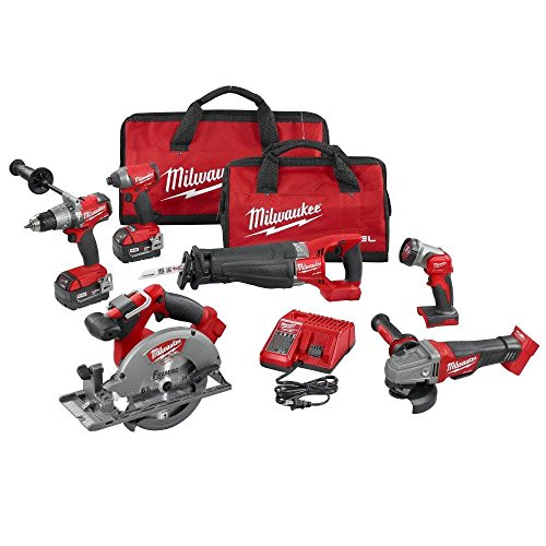 Milwaukee 2896-26 M18 Fuel 18-Volt Lithium-Ion Brushless Cordless Combo Kit (6-Tool) with (2) 5.0 Ah Batteries, (1) Charger, (2) Tool Bags (Best Corded Reciprocating Saw 2019)