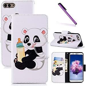 COTDINFOR Huawei P Smart Funda Precioso Animales Impresión Patrón Suave PU Cuero Magnético Billetera con Tapa para Tarjetas de Cárcasa para Huawei P Smart/Huawei Enjoy 7S Baby Panda BF.