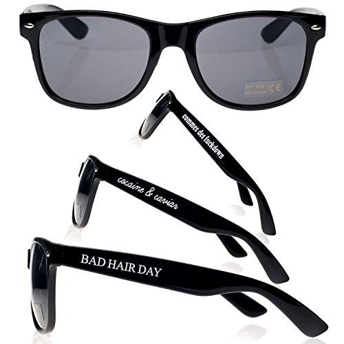 Hair ochentero Day sun ahumados Bad sol Gafas diseño TM Negro negro cristales unisex con 4sold de xqZ8wOnRxA