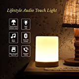 SHAVA Night Light Bluetooth Speaker, Portable Wireless Bluetooth Speakers, Touch Control, Color LED Speaker, Bedside Table Lamp, Speakerphone/TF Card/AUX-in Supported (White), 7