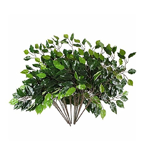 Silk Tree Branches - Mezly Artificial Silk Ficus Tree Branches Faux Fake Lamination Green Leaves Arrangements Anti-UV Home Garden Office Market Restaurant Wedding Decor (12pcs)