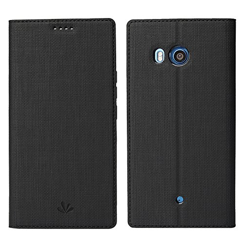 Feitenn HTC U11 Premium PU Leather Flip Wallet Case with Stand Kickstand Card Slots Holder Magnetic Closure Clear TPU Bumper Full Cover Slim Leather Case for HTC U11 HTC Ocean (Black)