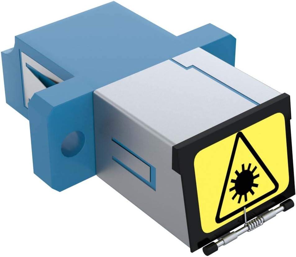 CableRack LC to LC Singlemode Duplex Shuttered Fiber Coupler Blue 6 Pack