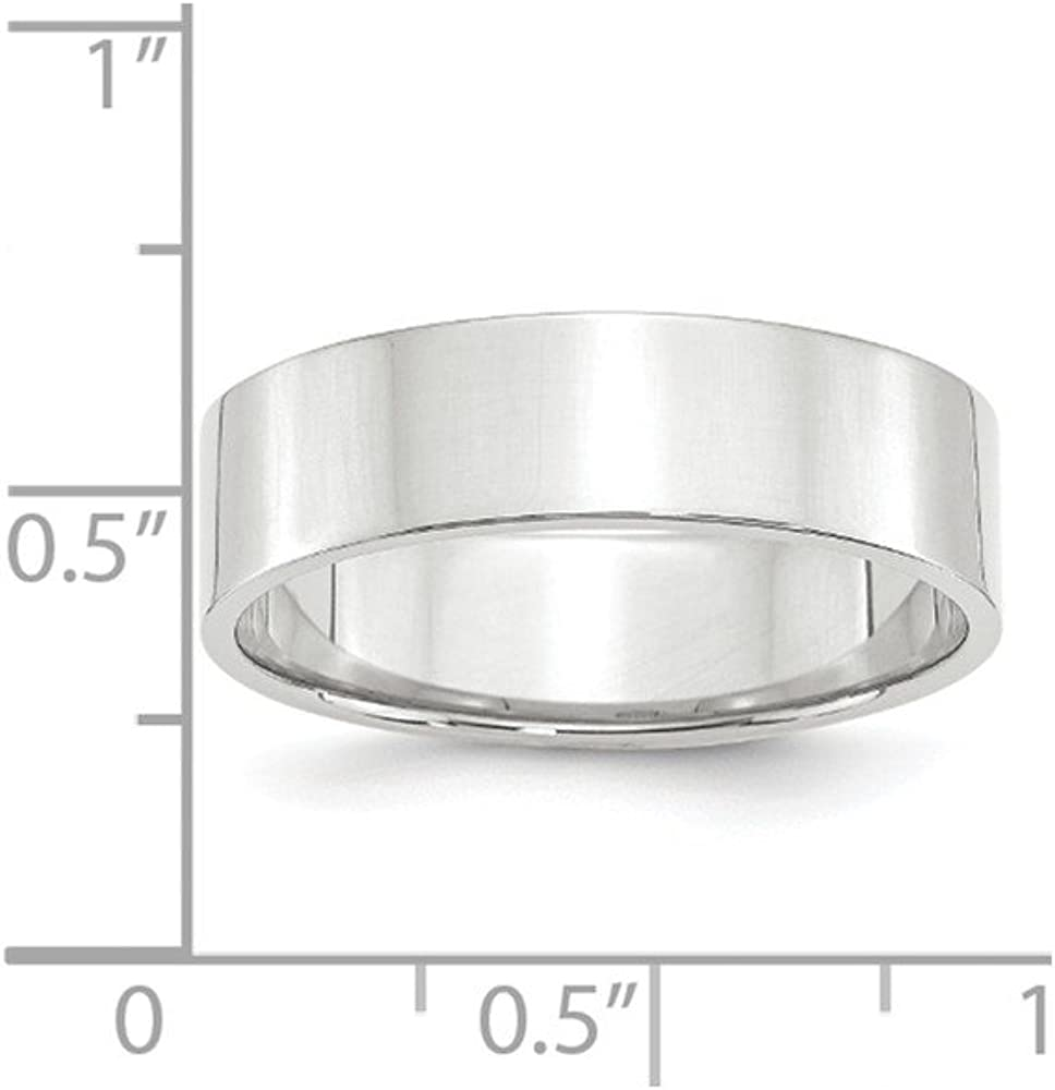 10K White Gold 6mm Lightweight Flat Band Ring