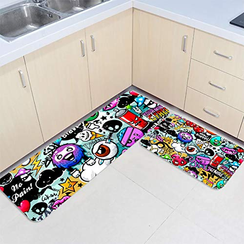 2 Piece Kitchen Rug Sets Floor Mats Non-Slip Rubber Backing Area Rugs Halloween Theme Cartoon Brains Eyeball and Monster Doormat Washable Carpet Inside Door Mat Pad Sets (19.7