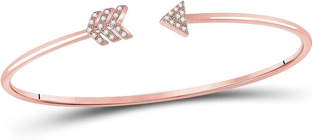 Diamond2Deal - Pulsera de oro rosa de 10 quilates con flecha de diamante redondo para mujer, 1/10 quilates