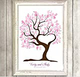 DIY Fingerprint Painting, Wedding Party DIY Signature Guest Book Fingerprint Painting (Love Tree)