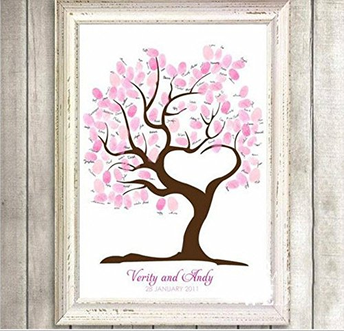 DIY Fingerprint Painting, Wedding Party DIY Signature Guest Book Fingerprint Painting (Love Tree) by Liushuliang