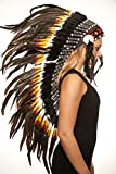 Inspired American Indian Chief Warbonnet Headdress Made with Real Feathers