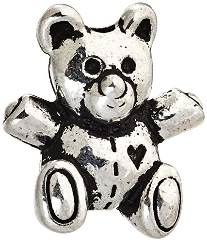 Silver Plated Teddy - TierraCast Teddy Bear Bead, 13.75mm, Antiqued Fine Silver Plated Pewter, 4-Pack