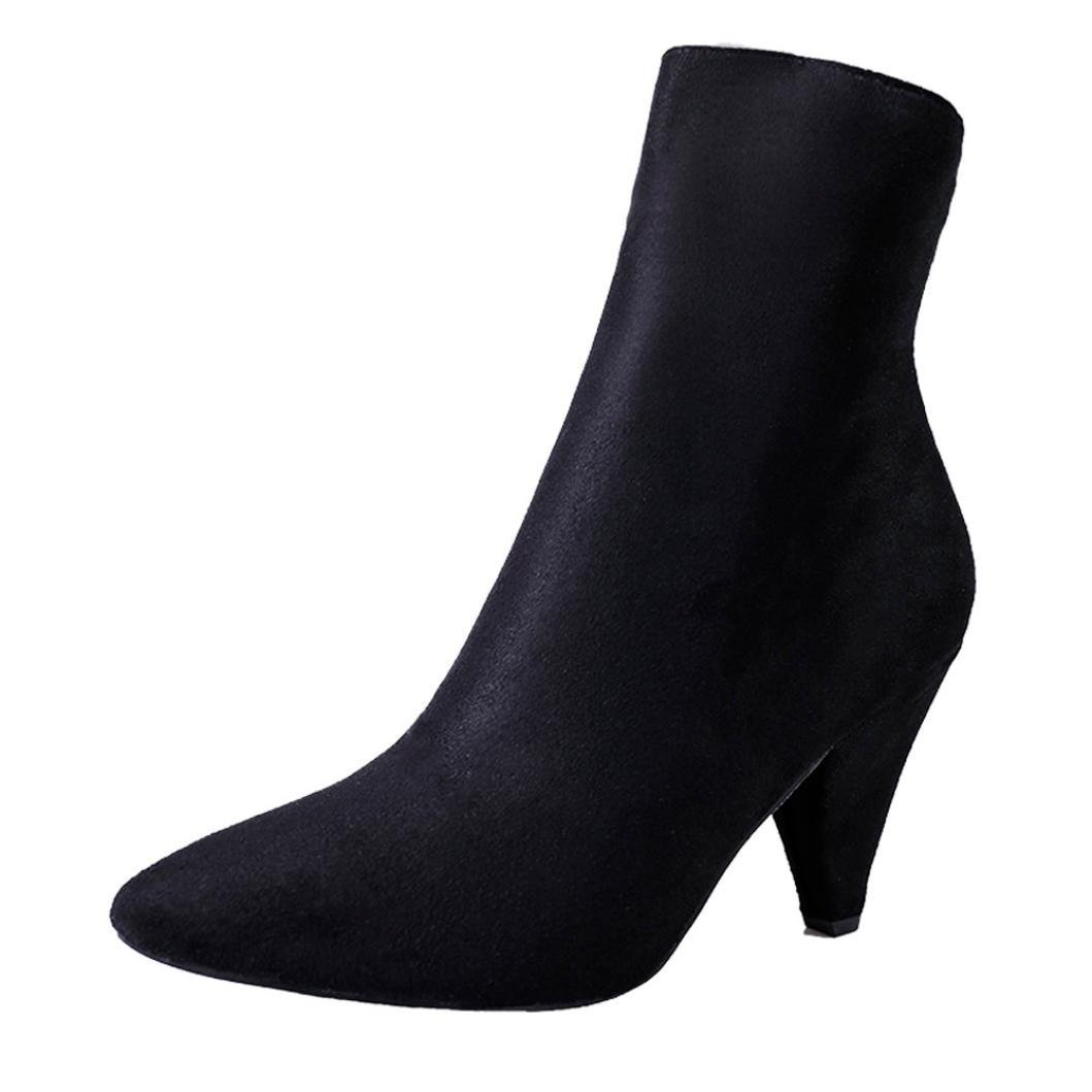 Women Middle Tube Boots With Heel Flock Pointed Toe Casual Zipper Thick Heels Martin Shoes Winter Autumn