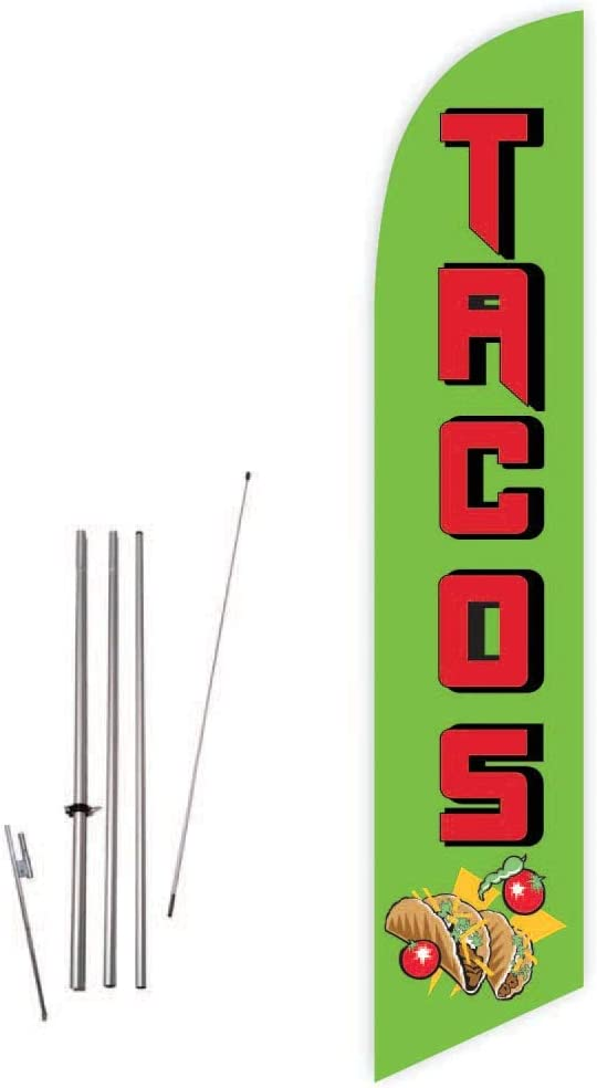 Cobb Promo Tacos (Green) Feather Flag with Complete 15ft Pole kit and Ground Spike