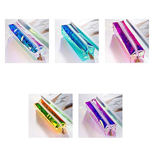 Estuche láser de gran capacidad para papelería, bonito estuche transparente para lápices, bolso de maquillaje con borlas,...
