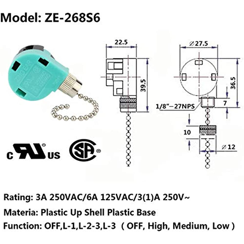 Ceiling Fan Switch 3 Speed 4 Wire Zing Ear Ze