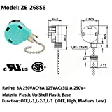 Ceiling Fan Switch 3 Speed 4 Wire Zing Ear ZE-268S6 Pull Chain Switch Control Replacement 3 Speed Control Switch Ceiling Fans, Wall Lamps, Cabinet Light