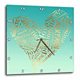 3dRose PS Inspiration - Image of Mint Green Gold Inspirational Words Heart - 10x10 Wall Clock (dpp_280736_1)