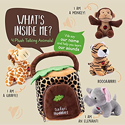 Plush Creations Plush Jungle Animals Toy Set, Includes 4 Talking Soft Safari Animals A Plush Elephant Plush Monkey Plush Giraffe Plush Tiger With A Plush Jungle House Carrier Great For Boys And Girls: Toys & Games