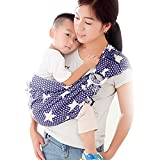 Cuby Handmade Cotton Ring Sling Wrap Baby Sling Carrier Best Gift For Parent (blue star)