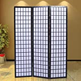 Generic YCUS150720-237 <8&1231*1> ack Newnese-Orient Japanese-Oriental Style 3 Panel Room Shoji Solid Wood Divider Screen Black New 3 Panel Roo