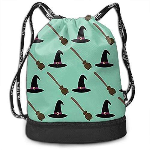 Funlery Happ Eco-Friendly Color Halloween Witch Hats Broom Drawstring Bag Rucksack Shoulder Bags Travel Sport Gym Bag Print-Lightweight Portable Sack Bag Pattern Daypack Pockets Adjustable Unisex -