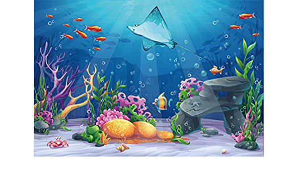 Marine 15x10 FT Vinyl Photography Backdrop,Cartoon Smiling Fish Jumping Out of Wavy Ocean on Heart and Flower Filled Backdrop Background for Photo Backdrop Baby Newborn Photo Studio Props