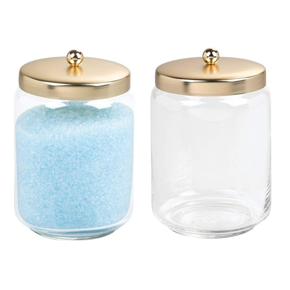 mDesign Glass Bathroom Vanity Storage Organizer Apothecary Canister Jar for Cotton Swabs, Cotton Rounds, Cotton Balls, Makeup Sponges, Bath Salts - 2 Pack - Clear/Gold Brass