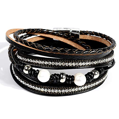 Womens Intimate Black Leather - Artilady Shinning wrap Clasp Bangle for Women (Black with Pearl)