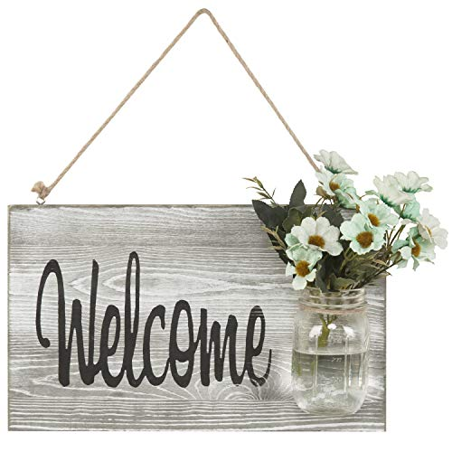 MyGift Shabby Chic Whitewashed Hanging Welcome Sign with Glass Jar ()