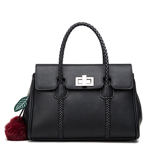Rose Bags Femme Sac à main en cuir à la mode Épaule Diagonale Noir